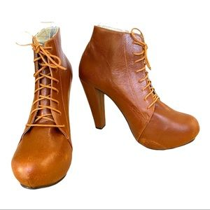 Brown Leather Lace Up High Heel Bootie